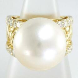 18k Yellow Gold Ring 12 Size Pearl About16mm Diamond Free Shipping Used