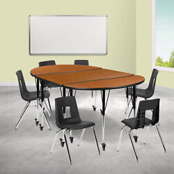 Mobile 76 Oval Wave Collaborative Laminate Activity Table Set With 18 Stude...