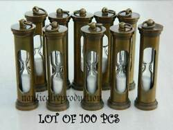 Sand Timer Key Ring Collectible Antique Finish Lot Of 100 Pcs Nautical Gift