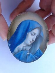 Exquisite 19th Century Miniature Hand Painted Madonna Mary After Carlo Dolci