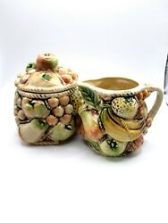 Mcm Ceramic Glazed Sugar Bowl And Creamer Fruit Theme Pottery Cottagecore