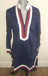 Castaway Nantucket Linen Tunic Dress Navy With Red + White Trim Size S L Xl Nwt