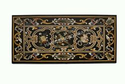 72x 36 Black Marble Dining Table Top Marquetry Collectible Inlay Decors E590