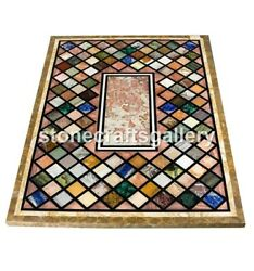 4and039x2and039 Marble Dining Table Top Semi Precious Mosaic Inlay Interior Decorate B068