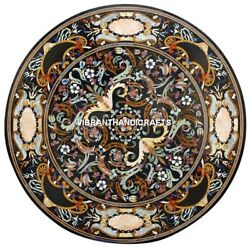 Black Marble Dining Table Top Pietra Dura Floral Inlay Handmade Art Decors H3876