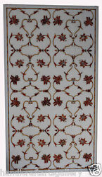 2.5and039x4and039 White Marble Dining Table Top Marquetry Floral Art Home Decoratives H452