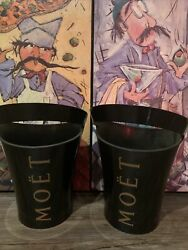 Moet Champagne Chandon Ice Bucket Bottle Holder Pair Two Lot Wine