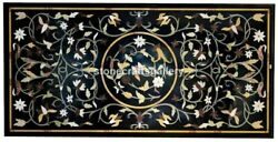 5and039x3and039 Black Marble Dining Table Top Marquetry Art Inlay Floral Home Decors B054b