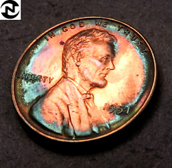1951 Lincoln Wheat Penny Cent // Gem Proof Toned Colors // W143