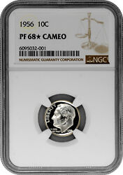 1956 10c Proof Silver Roosevelt Dime Ngc Pf 68 Star Cameo
