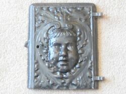 Antique Parlor Wood Stove Door With Childand039s Face Embossed Woods Leaf Design Rare