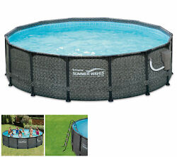 Summer Waves 14and039 X 48 Outdoor Round Frame Above Ground Pool W/ Pump Open Box