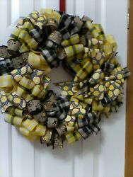 Handmade Ribbon Wreath With Lemon And Bees And Free Over The Door Hanger