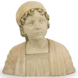13 H Alabaster Marble Bust Of A Young Woman