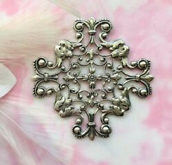 Antique Silver Openwork Cross Filigree Stamping Oxidized Findings Cb-3045