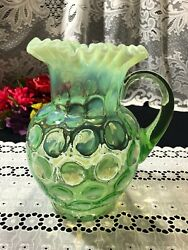 Green Fenton Opalescent Depression Glass Coin Dot Ruffle Top Pitcher 9 1/4