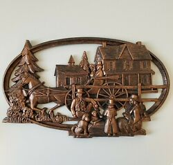 Vintage Plastic Syroco Horse Drawn Sleigh Wall Hanging Coppercraft Guild Winter