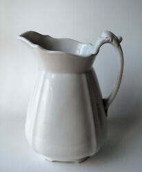 Antique White Ironstone 12andrdquo Pitcher T Furnival England Excellent Beautiful
