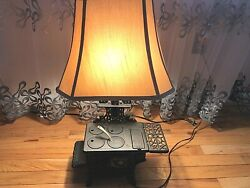 Rare Vintage Crescent Cast Iron Stove Lamp - Works Perfectly - Great Condition