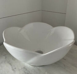 White Vitreous China Round Flower Vessel Sink. New