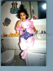 Found Color Photo H+1730 Girl Sitting On Counter Bruching Teethmirror Reflect