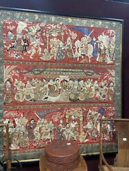 Large Framed Chinese Red Ground Silk Figural Embroidered Panel