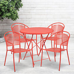 Commercial Grade 30 Round Metal Folding Patio Table Set W/ 4 Round Back Chairs