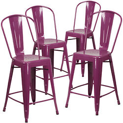 Commercial Grade 4 Pack 24 High Metal Indoor-outdoor Counter Height Stool Wi...