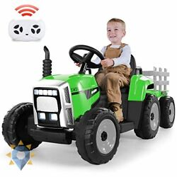 Ride On Truck 12v Electric Kids Tractor With Remote Control Toy Trailer Led New