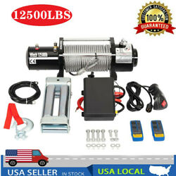 Electric Recovery Winch 12500lbs 12v Truck Wire Rope Suv Durable Remote Control