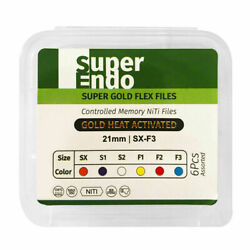 Super Endo Gold Flex Rotary Files Taper Design Gold Finish Pack Of 6 For Dental