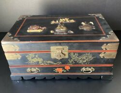 Vintage Asian Jewelry Box With Drawer And Mirror 7.75andrdquo Tall