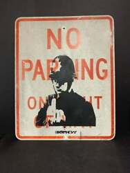 Banksy Signed Stencil Over No Parking Sign 30 X 24