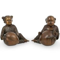Pair Of Japanese Bronze Figures Of Children Playing With Peaches 10 High