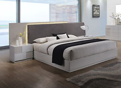 Contemporary Upholster Grey Polyester Blend Headboard Led Cal King Size Bed 4pc