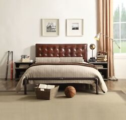 2pc Queen Size Tufted Bedroom Set Brown Finish Top Grain Leather Home Furniture