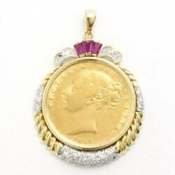 Sovereign Queen Victoria Coin Yellow Gold White Pendant Top Free Shipping Used