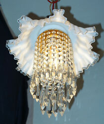 Vintage Fenton Silver Crest Jelly Fish Glass Brass Ceiling Lamp Chandelier Canop