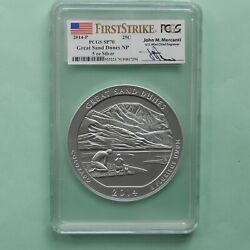 2014-p Great Sand Dunes 5 Oz Silver Atb Coin Pcgs Sp 70 Fs Mercanti Label