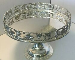 Ornate Godinger Silverplate Footed Raised Edge Tray Grapes And Leaves On Pedestal