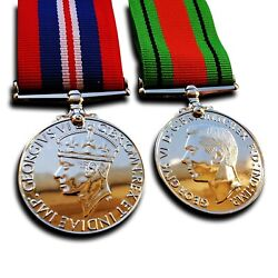 Goldbrothers13 Military Medals War Medal And Defence Medal Ww2 British Campaign...