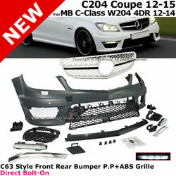 For 12-14 Mb W204 4dr And12-15 2dr C204 | Front Bumper Complete Kit Led Drl Grille