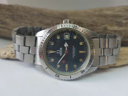 Rare Vintage Titus Calypsomatic Diver Black Dial Date Automatic Manand039s Watch