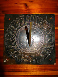 Rare Early Victorian Bronze Gothic Arabic Numerals Windmill Time Flies Sundial