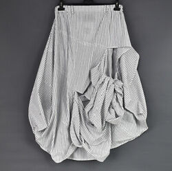 Creare And039rollercoasterand039 Cotton White And Black Stripe Parachute Skirt One Size
