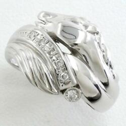 Jewelry 18k White Gold Ring 14 Size Diamond 0.08 About8.7g Free Shipping Used