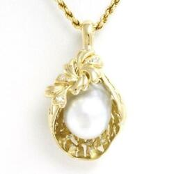 Jewelry 18k Yellow Gold Necklace Pearl Diamond About22.7g Free Shipping Used