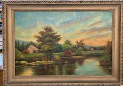 Lake Landscape Scenery Painting Richard G. Welsch New York Oil On Canvas