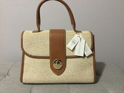 Talbots Straw and Camel Leather with White Stitch Dr. Bag Satchel Purse Handbag $74.00