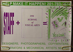 Original Vintage Poster School Of Visual Arts Yearbook Help Wanted Sign Pin Up